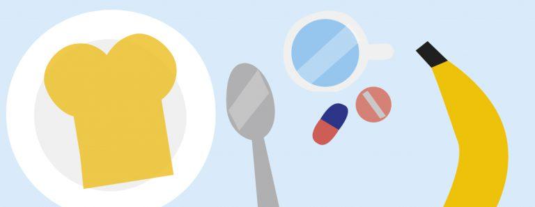 Banner illustratie van eten en medicijnen