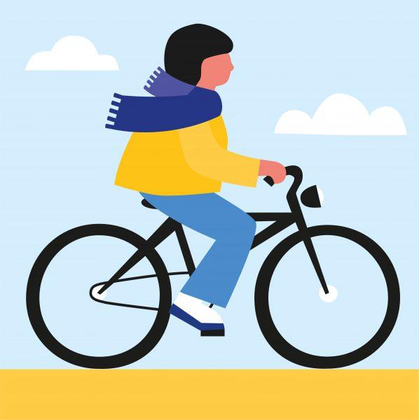 Illustratie van een persoon die aan het fietsen is