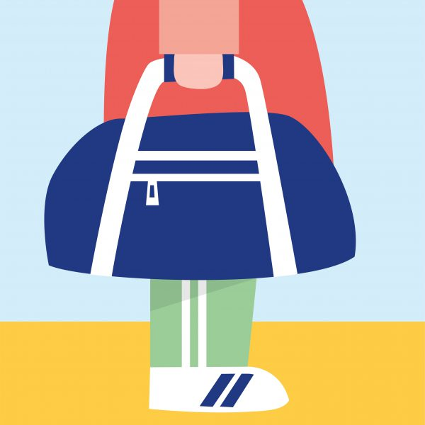 Illustratie van persoon in sportkleding met een sporttas