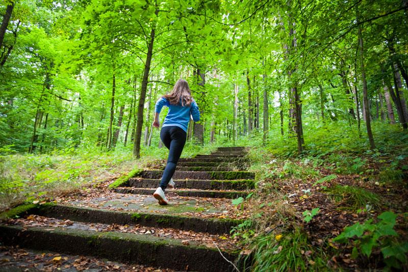 joggend een trap op in het bos