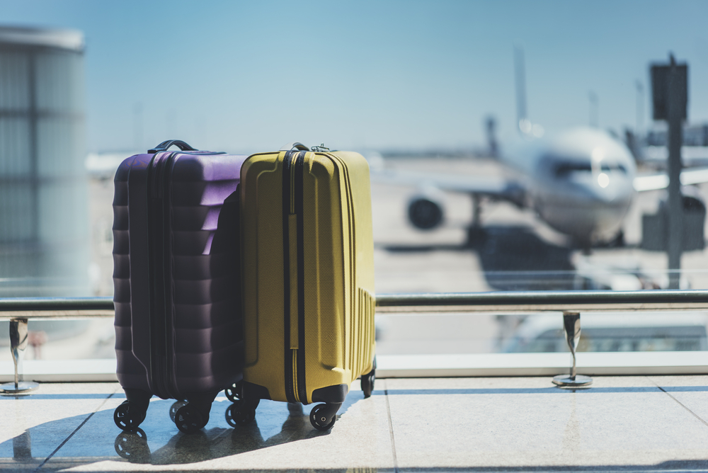 twee koffer staan in een vliegveld terminal